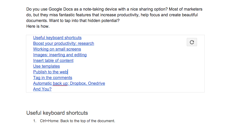 10 google docs hacks for marketers become a power user for Table of contents google docs