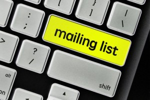 The computer keyboard button written word mailing list .