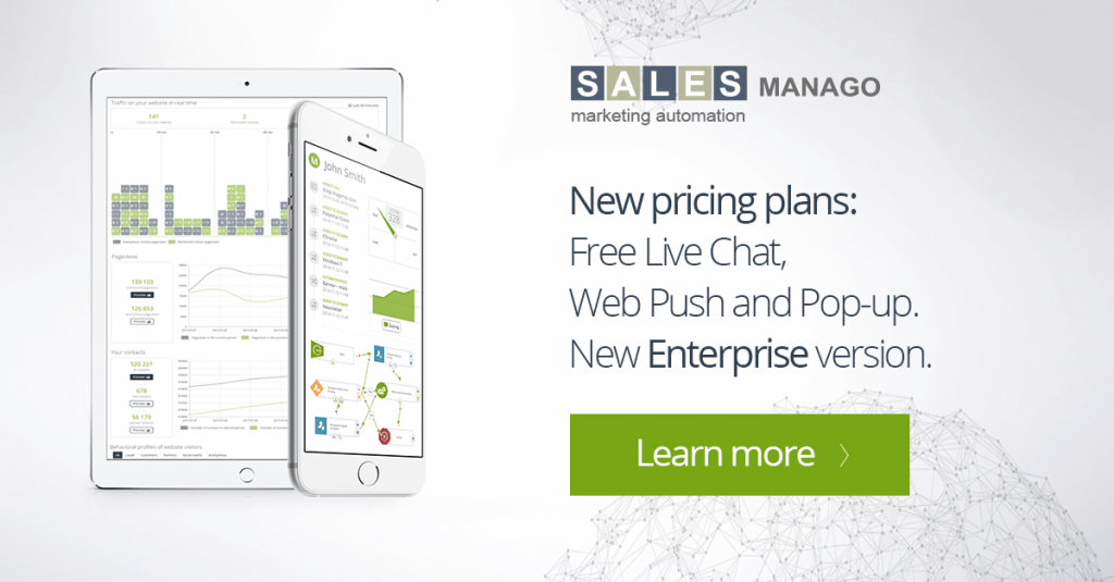 New pricing plans: Free Live Chat, Web Push and Pop-up. New Enterprise version